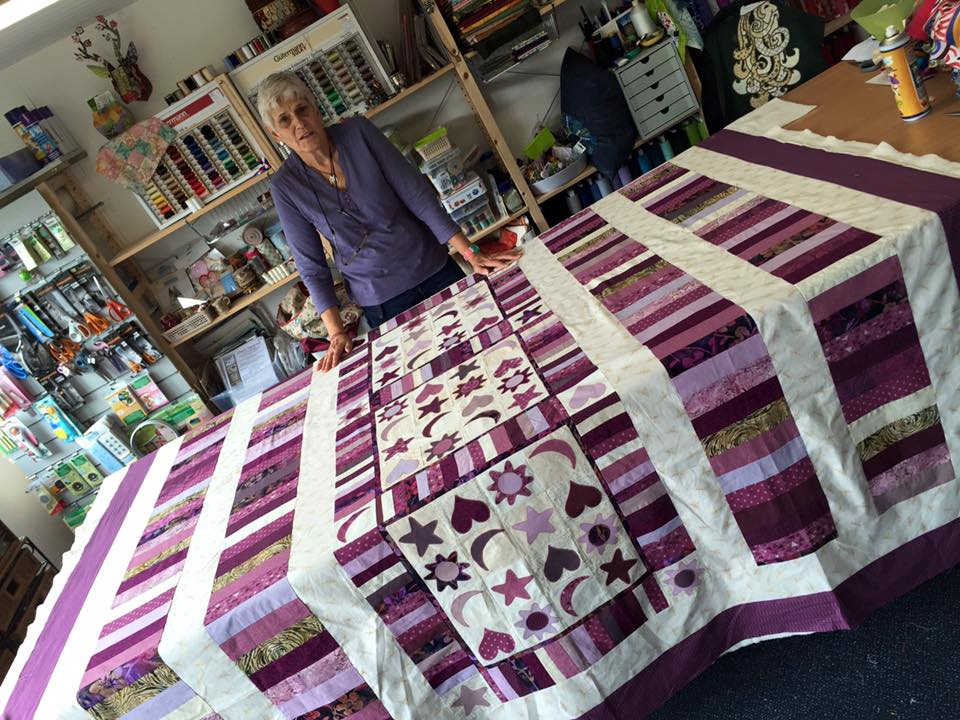 Jackie and purple quilt