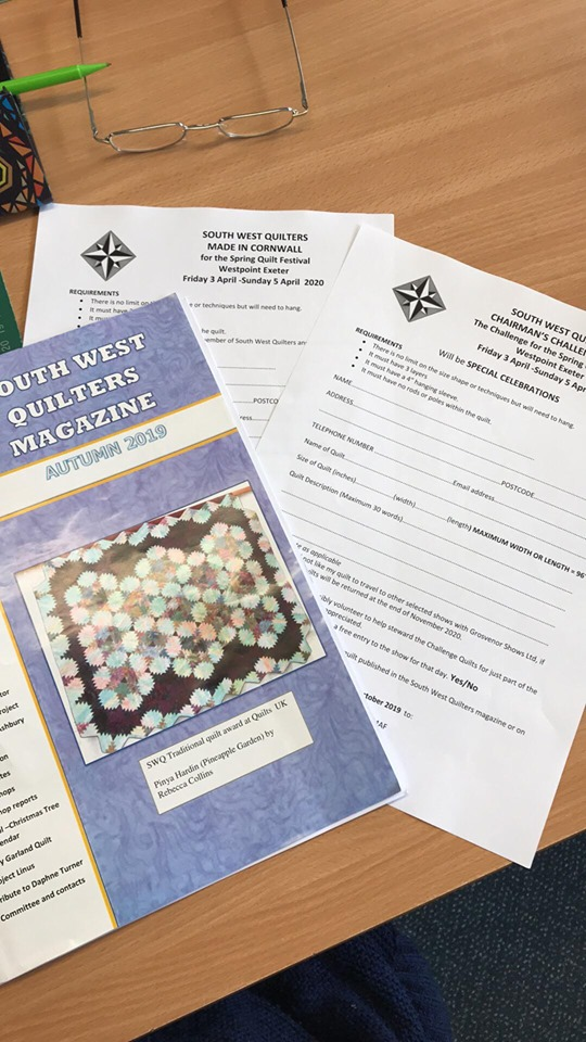 South West Quilters Application Form details