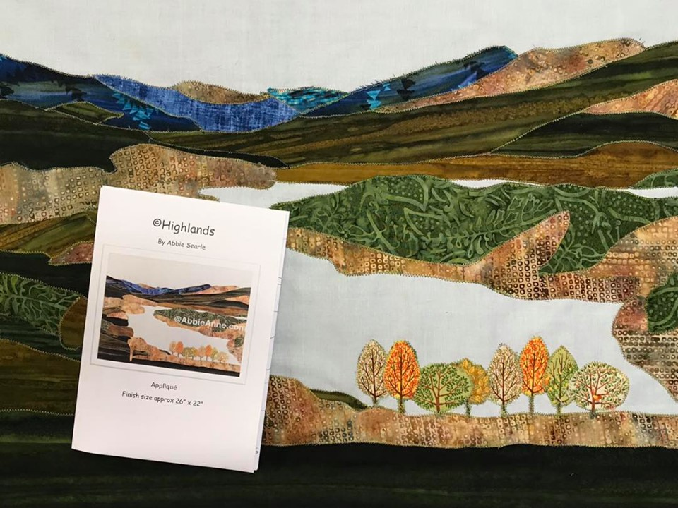 Textile art piece depicting Highland scene
